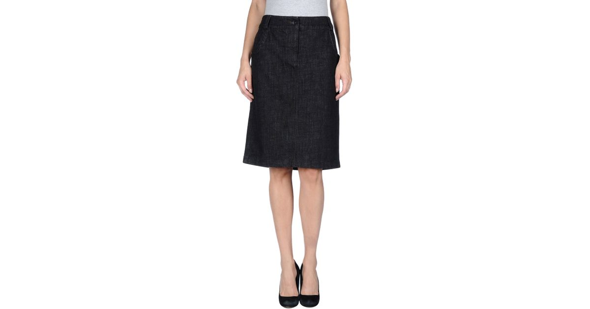 armani denim skirt in black lyst