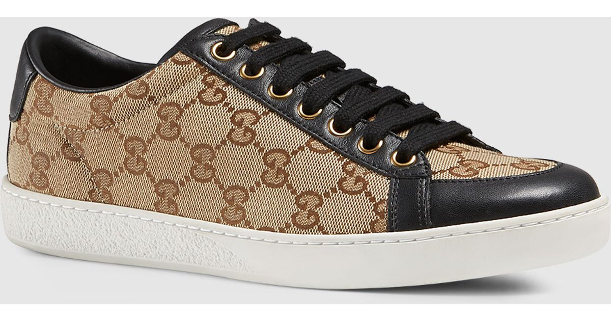 ebc6b57b343 Rhyton leather sneaker with tiger Source · Lyst Gucci Brooklyn Original Gg  Canvas Lace up Sneaker in Black