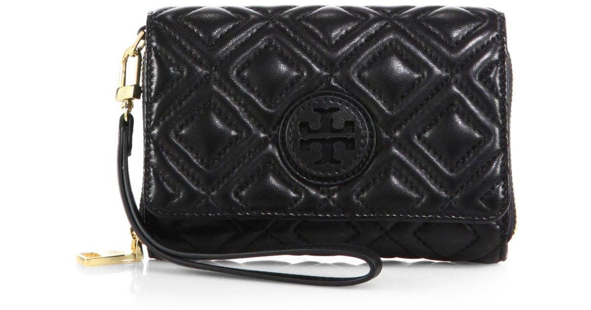 Tory Burch Marion Quilted Smartphone Wallet In Black Lyst