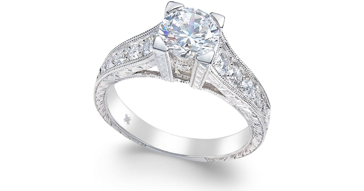 Macy s Certified Diamond Channel Set Engagement Ring 1 1 2 Ct T w In