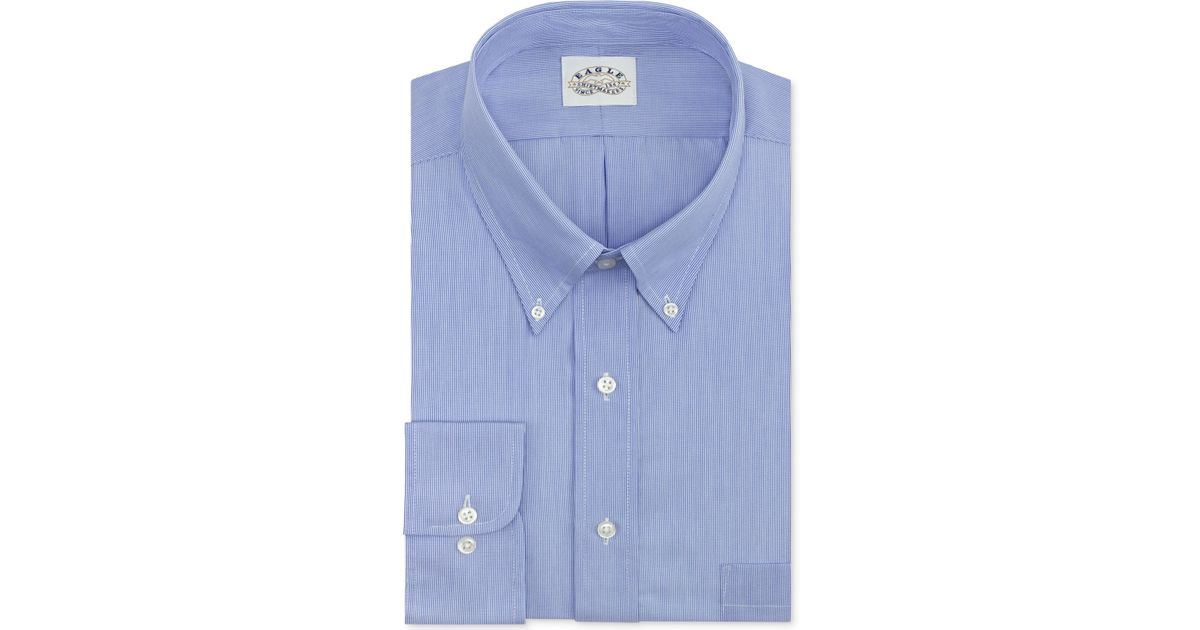 Eagle men 39 s big tall classic fit non iron blue feather for Mens pinpoint dress shirts