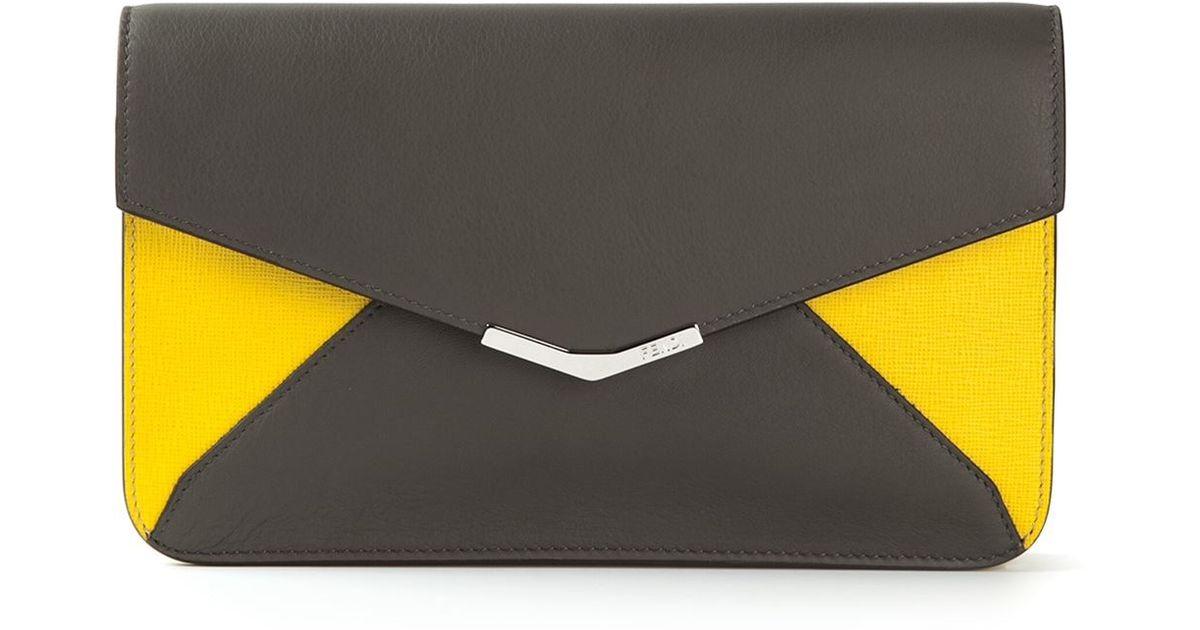 Fendi 2 Jours Wallet Clutch in Gray - Lyst