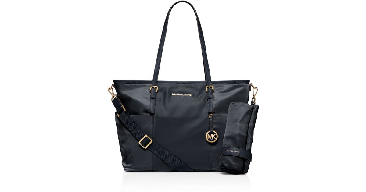 michael michael kors jet set large pocket diaper bag in blue lyst. Black Bedroom Furniture Sets. Home Design Ideas
