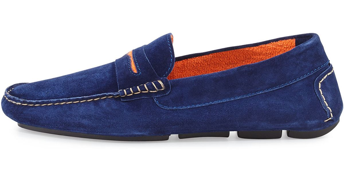 a8d9d301487ab Manolo Blahnik Roadster Men's Suede Driver Loafer in Blue for Men - Lyst