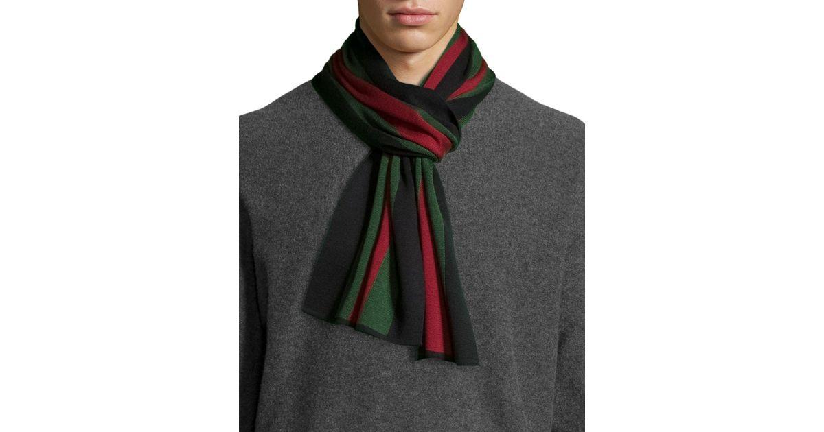 2e1348ed Gucci Black Crook Knit Striped Scarf for men