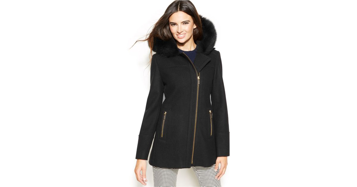 Michael kors Michael Fur-Trim Hooded Wool-Blend Coat in Black | Lyst