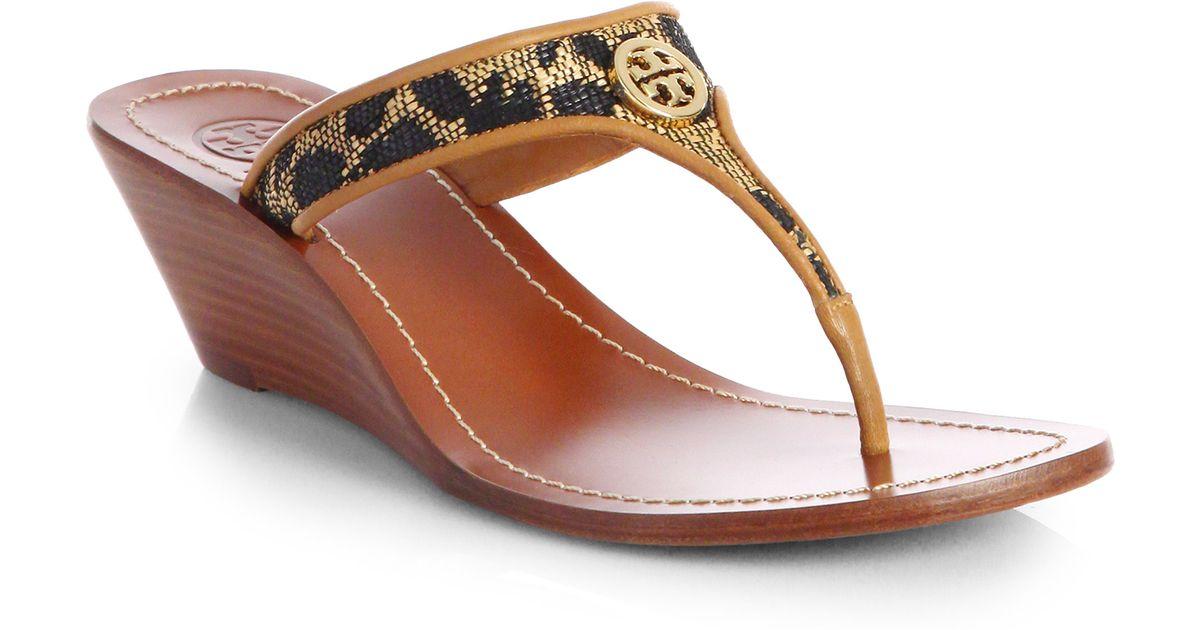 fb738fffe12a7d Lyst - Tory Burch Cameron Leopardprint Leather Wedge Sandals in Brown