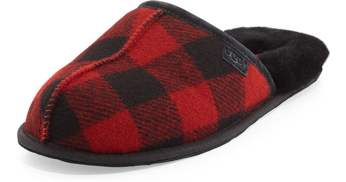 2ac7b809dcc UGG Red Scuff Buffalo Plaid Wool Slippers