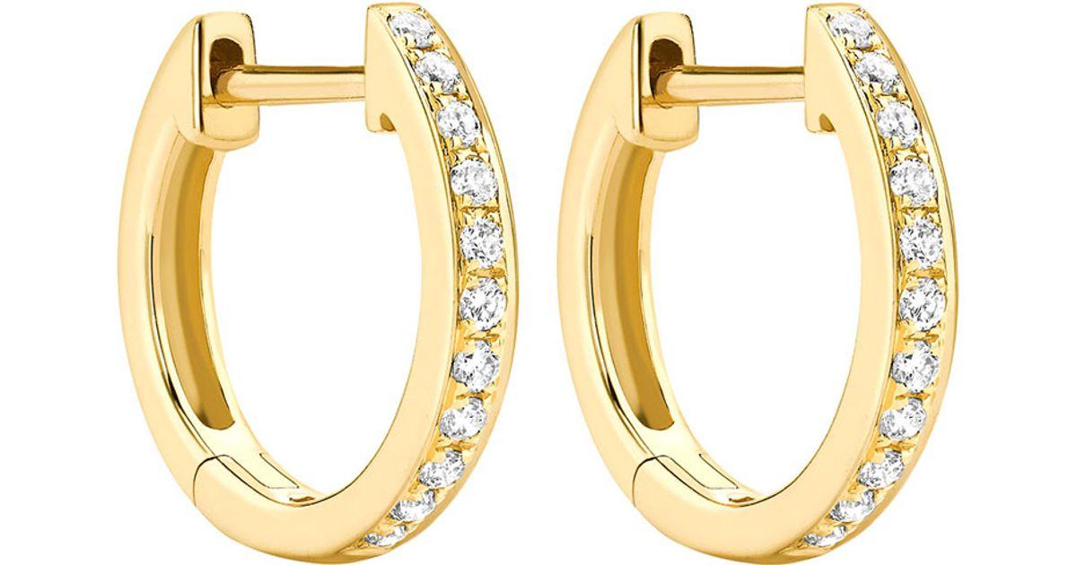 Kiki Mcdonough Metallic Clics 18k Yellow Gold Diamond Hoop Earrings