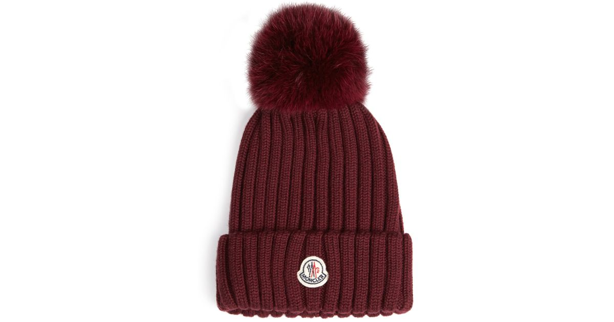 Moncler Fox-fur Pompom Knitted Beanie Hat in Purple - Save  9.037328094302552% - Lyst fb6ad9a6fac