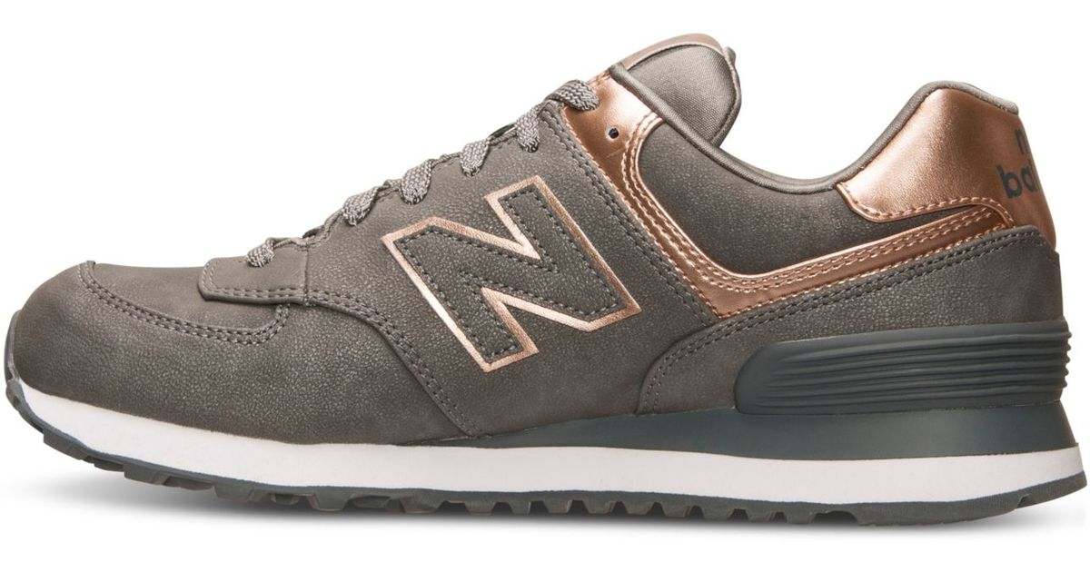 new balance women 39 s 574 precious metals casual sneakers from finish line in brown silver rose. Black Bedroom Furniture Sets. Home Design Ideas