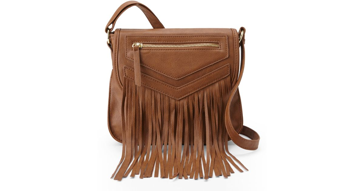 f7160d3316a Madden Girl Cognac Orchid Fringe Crossbody in Brown - Lyst