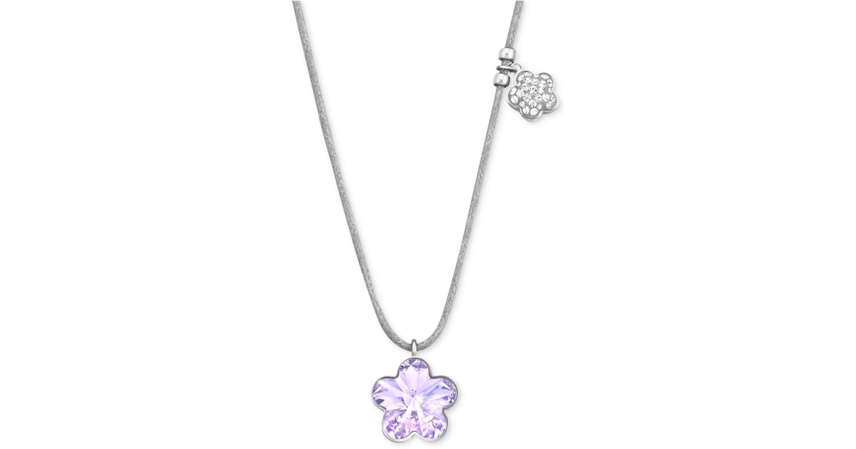 0981d5569 Swarovski Rhodium-Plated Violet Flower Crystal Pendant Necklace in Purple -  Lyst