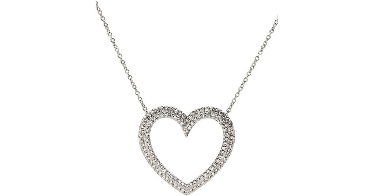 Lyst tiffany co womens pre owned metro large diamond heart lyst tiffany co womens pre owned metro large diamond heart pendant platinum necklace in metallic aloadofball Choice Image