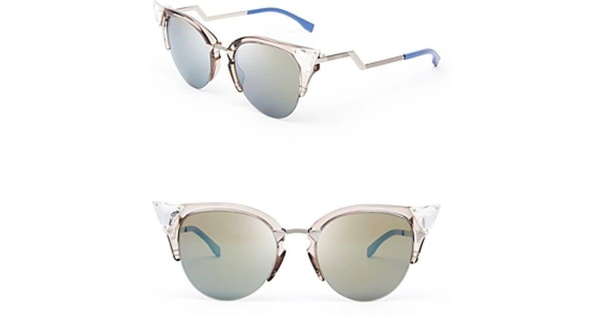 6985c7b11 Fendi Crystal Embellished Mirrored Cat Eye Sunglasses in Metallic - Lyst