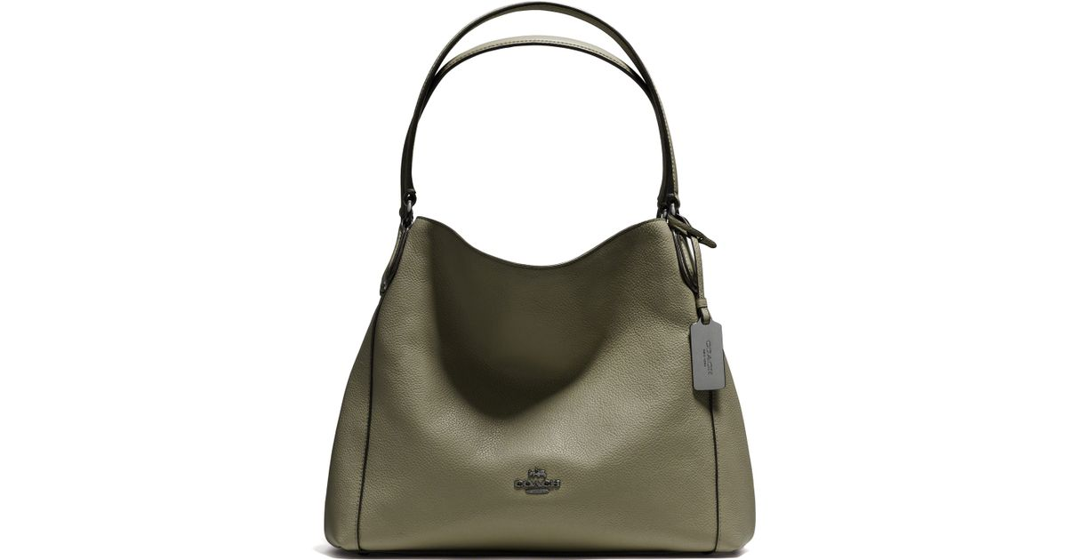 ... light gold khaki brown 0d274 f27e2 netherlands coach legacy jacquard  edie 31 39343 10240 best price lyst coach edie pebbled leather shoulder bag  in ... b65571af9df22