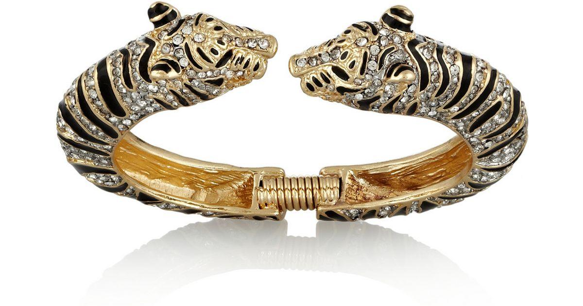 Kenneth Jay Lane Black Crystal Tiger Bracelet Gold/black NdbXkID