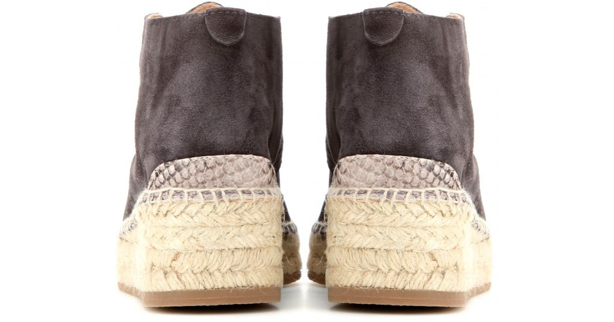 335bda7d91be5 Rag & Bone Geneva Espadrille Suede Ankle Boots in Gray - Lyst