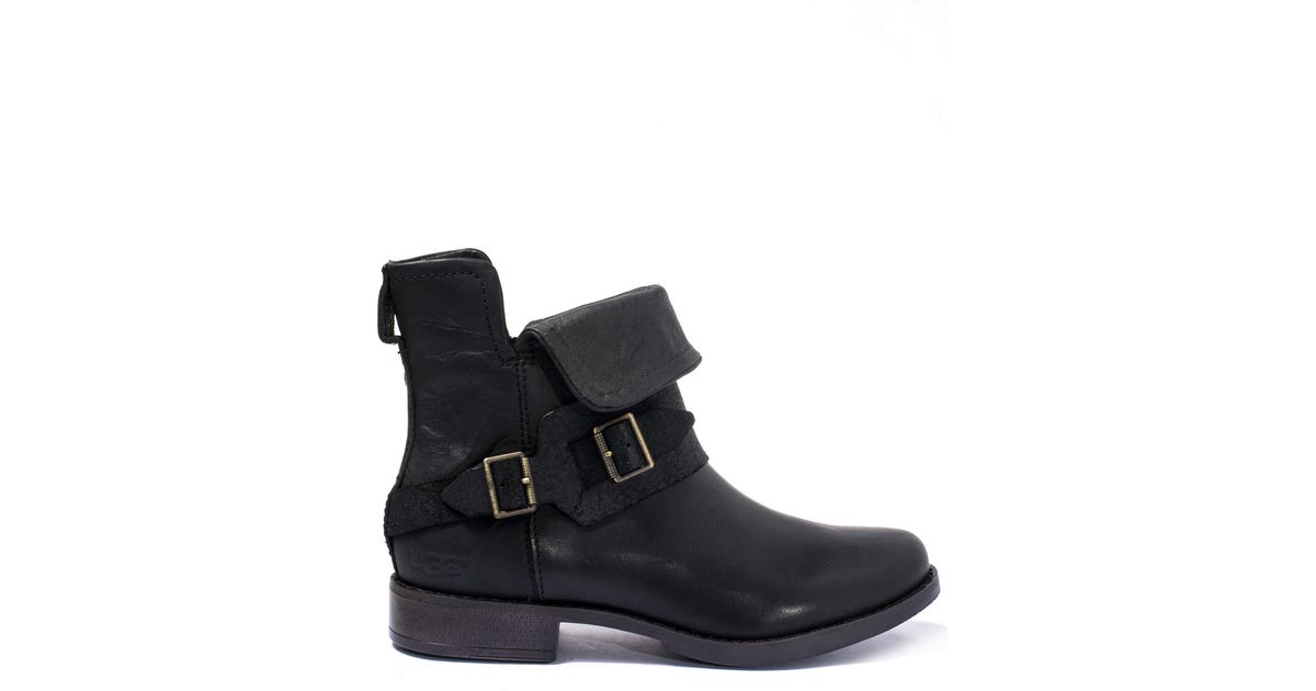 485b9566aa5 UGG Black Cybele Fold-over Leather Ankle Boots