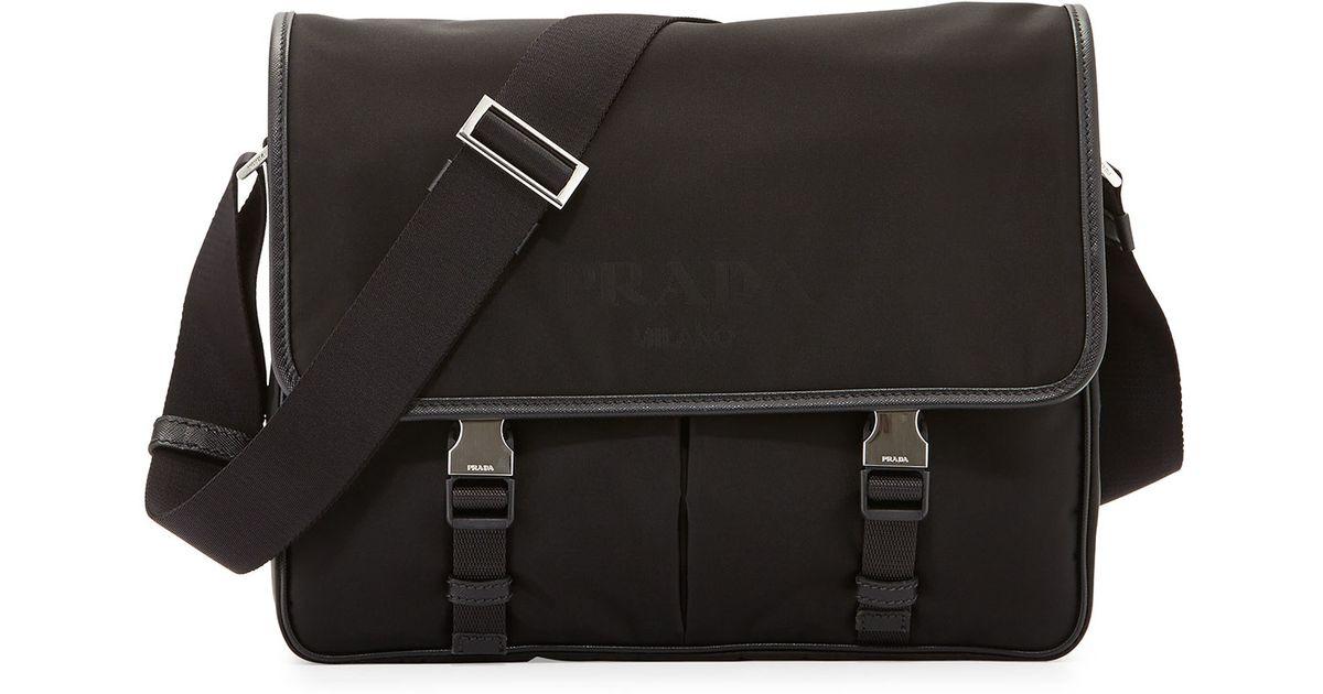 d0cbe832024 Lyst - Prada Small Nylon Messenger Bag in Black for Men