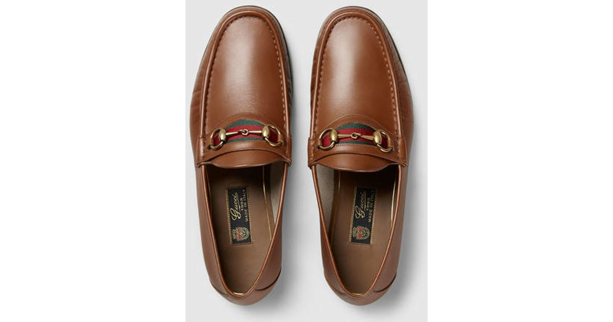 fe32bf4613f Lyst - Gucci Men s Horsebit Leather Loafer in Brown for Men