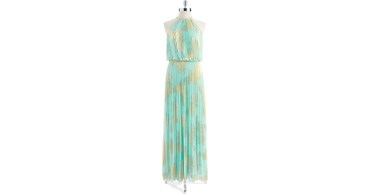 Lyst - Xscape Pleated Halter Top Gown in Blue