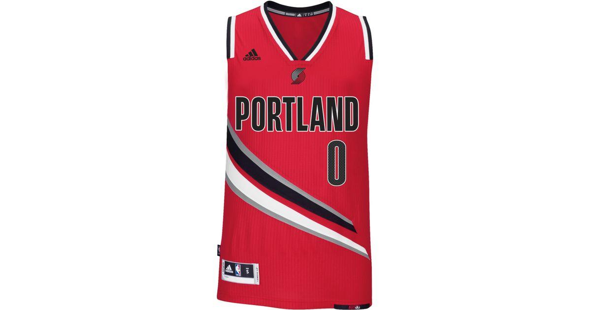 buy popular b8eae 7c279 Adidas Originals Red Men's Damian Lillard Portland Trail Blazers Swingman  Jersey for men