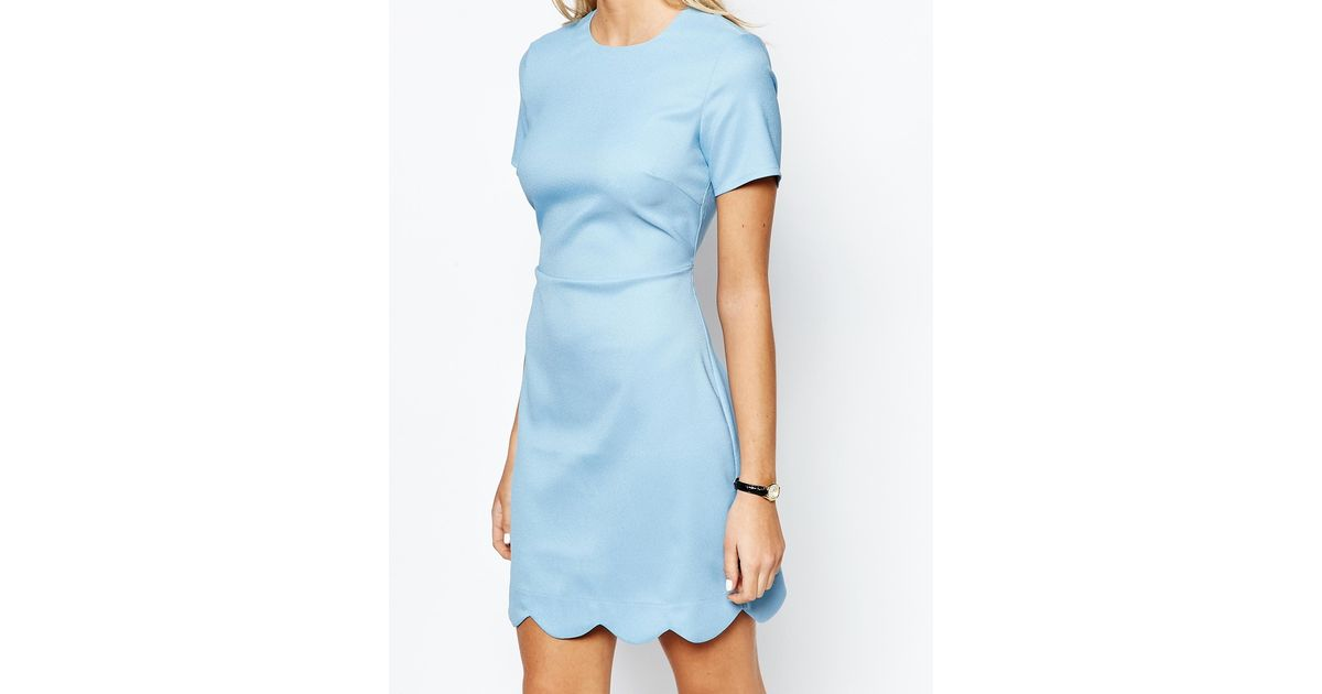 Fashion Union Scallop Hem Shift Dress In Blue Lyst