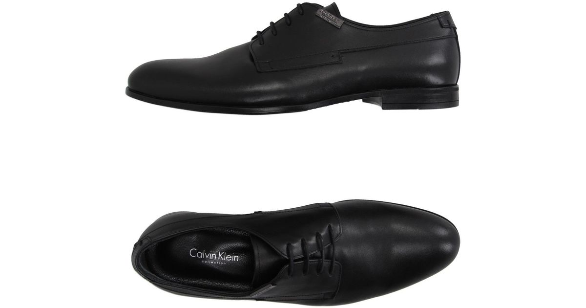 calvin klein lace up shoe in black for lyst