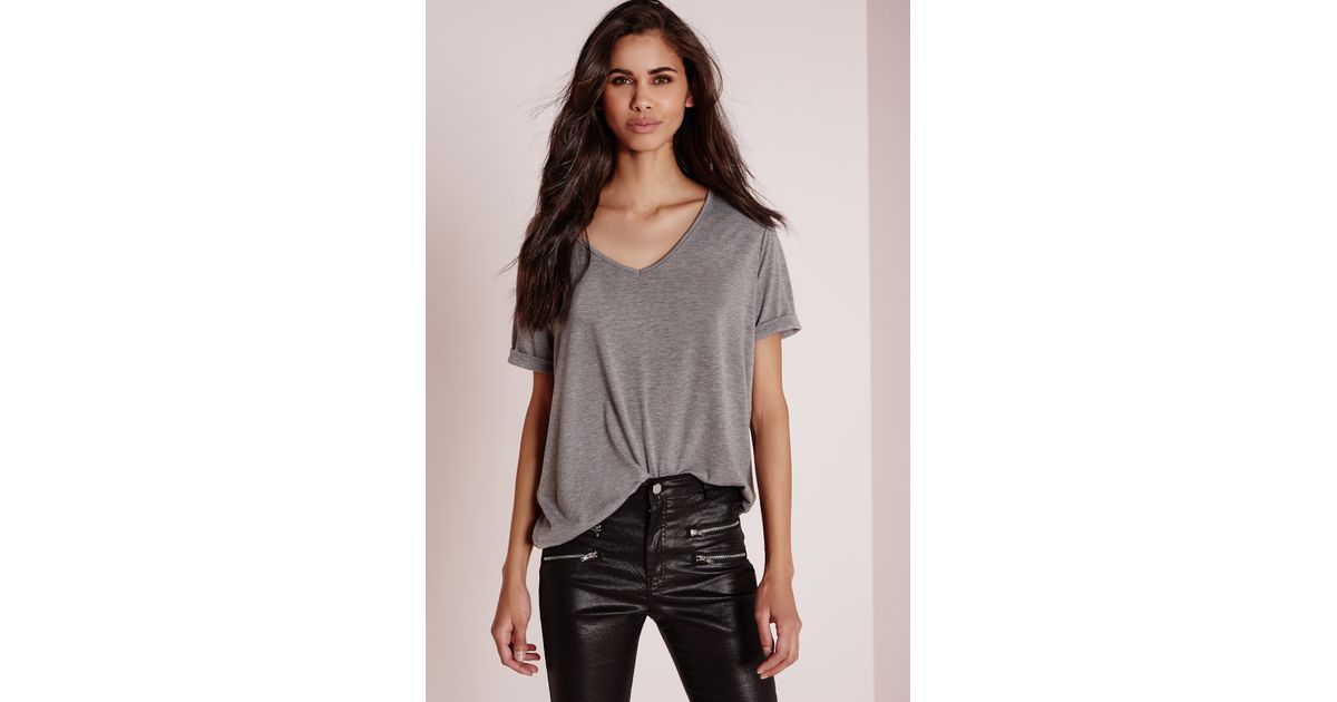 Missguided tall boyfriend v neck t shirt grey marl in gray for Tall v neck t shirts