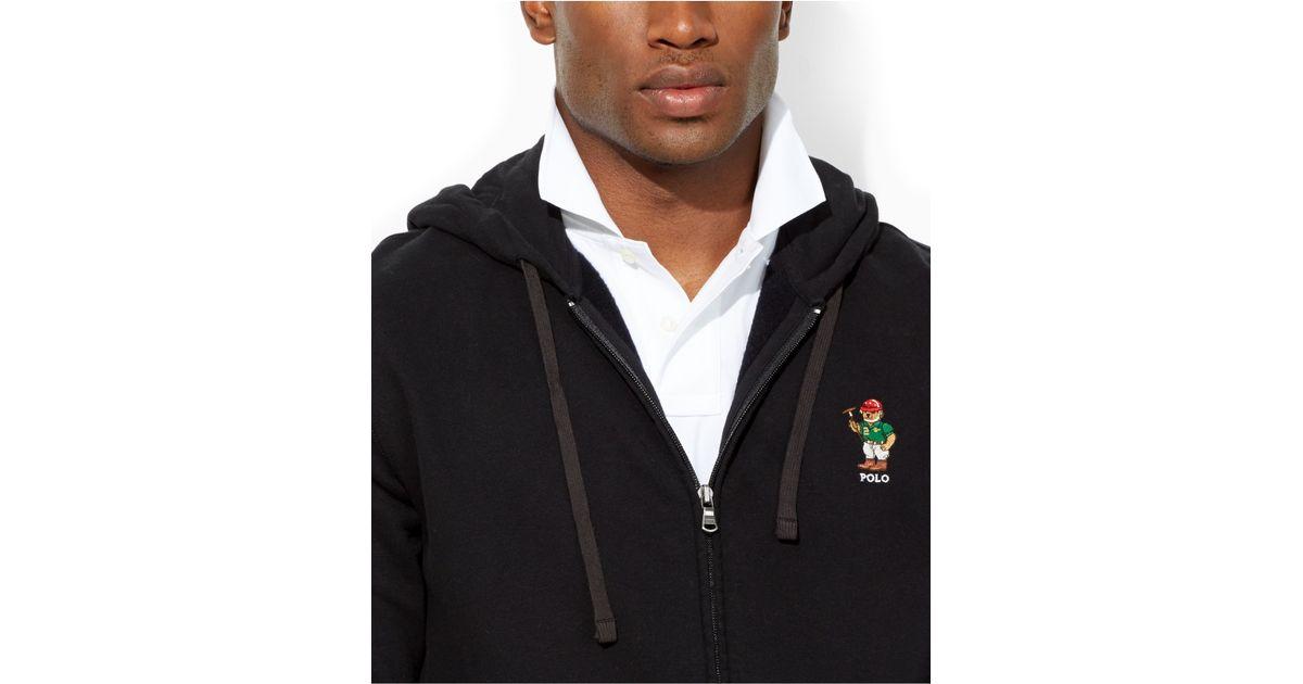 Black Bear Full Hoodie Zip Fleece Ralph Athlete Men For Lauren Polo KlcJF1
