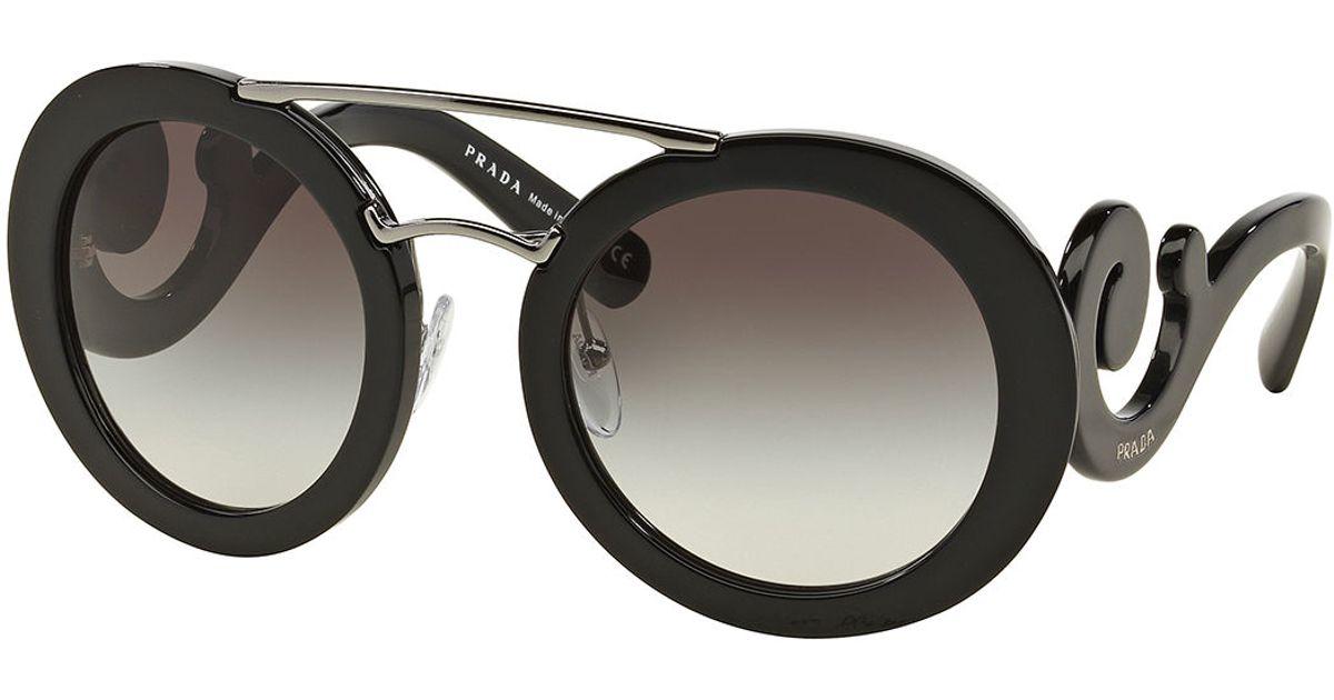 d98ae9dcf6d4 ... promo code for lyst prada baroque round brow bar sunglasses in black  2b7b6 b199e ...