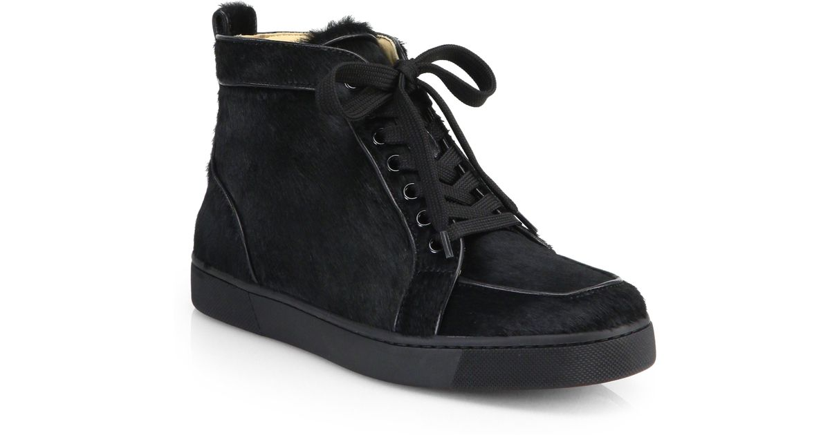 new styles 91988 0b5f5 Christian Louboutin Black Rantus Orlato Calf Hair & Leather Lace-Up Sneakers