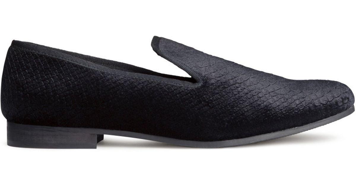 497d6eda45b Lyst - H M Velvet Loafers in Black for Men