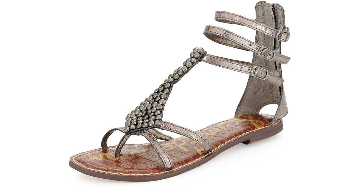 e238085f8f7a4 Lyst - Sam Edelman Ginger Beaded Metallic Gladiator Sandal