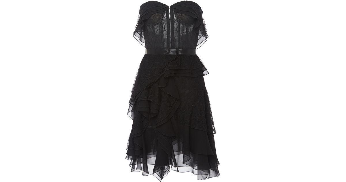 Lyst Oscar De La Renta Ruffle Detail Dress With Gloves In Black