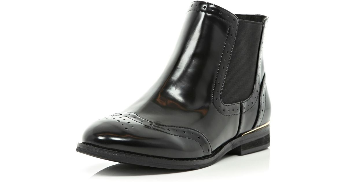 Black Patent Brogue Chelsea Boots