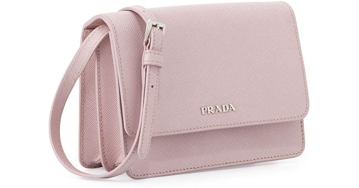 19c52d5eaae2 Prada Saffiano Lux Crossbody Bag in Pink - Lyst