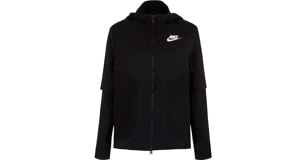 Lyst - Nike Black Perforated Full-zip Hoodie Jacket in Black 1db23b351
