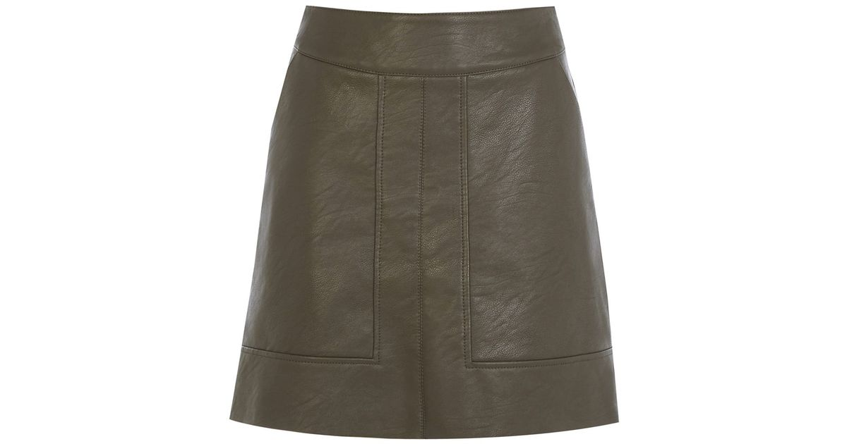 warehouse panelled faux leather skirt in brown lyst