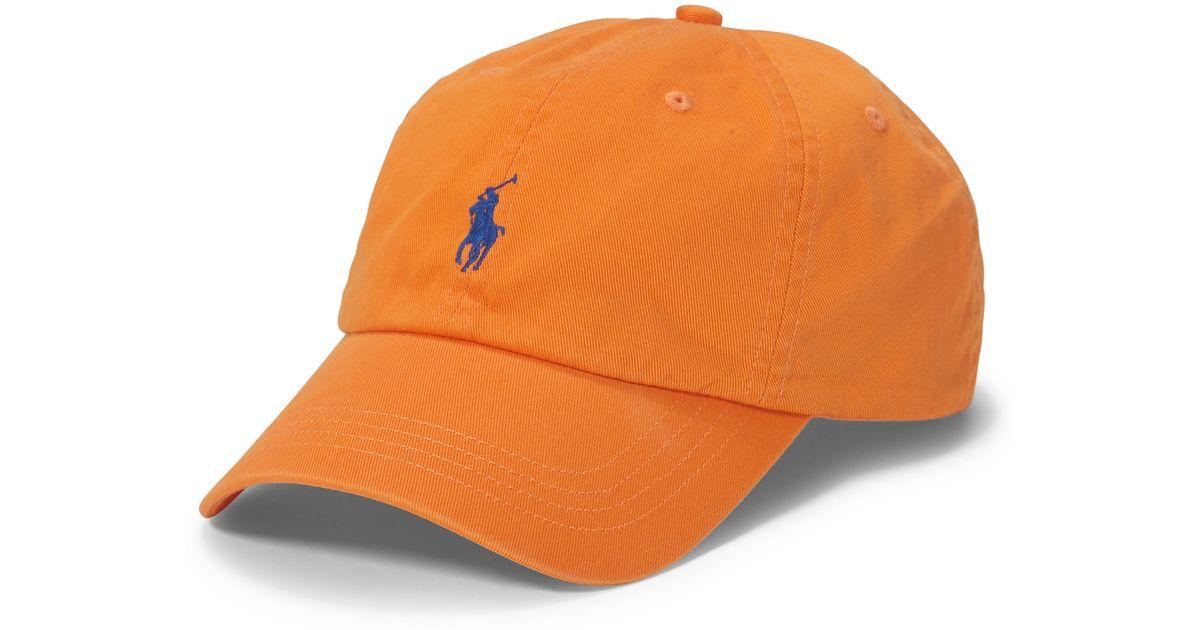 3a7412e9464 Lyst - Polo Ralph Lauren Cotton Chino Baseball Cap in Orange for Men