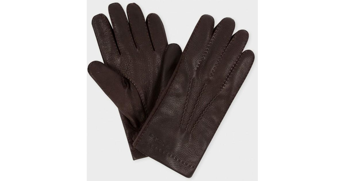 54166ad7c0ad5 Lyst - Paul Smith Men's Brown Deerskin Cashmere Lined Gloves in Brown for  Men