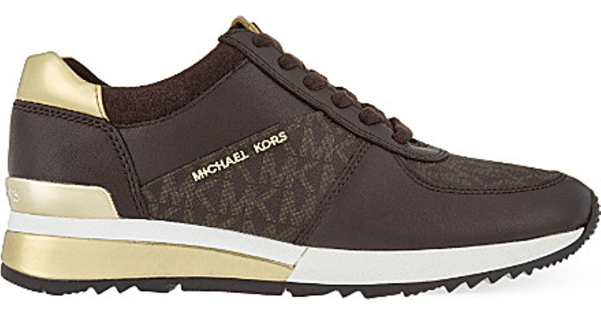 Lyst Michael Michael Kors Allie Wrap Leather Trainers In