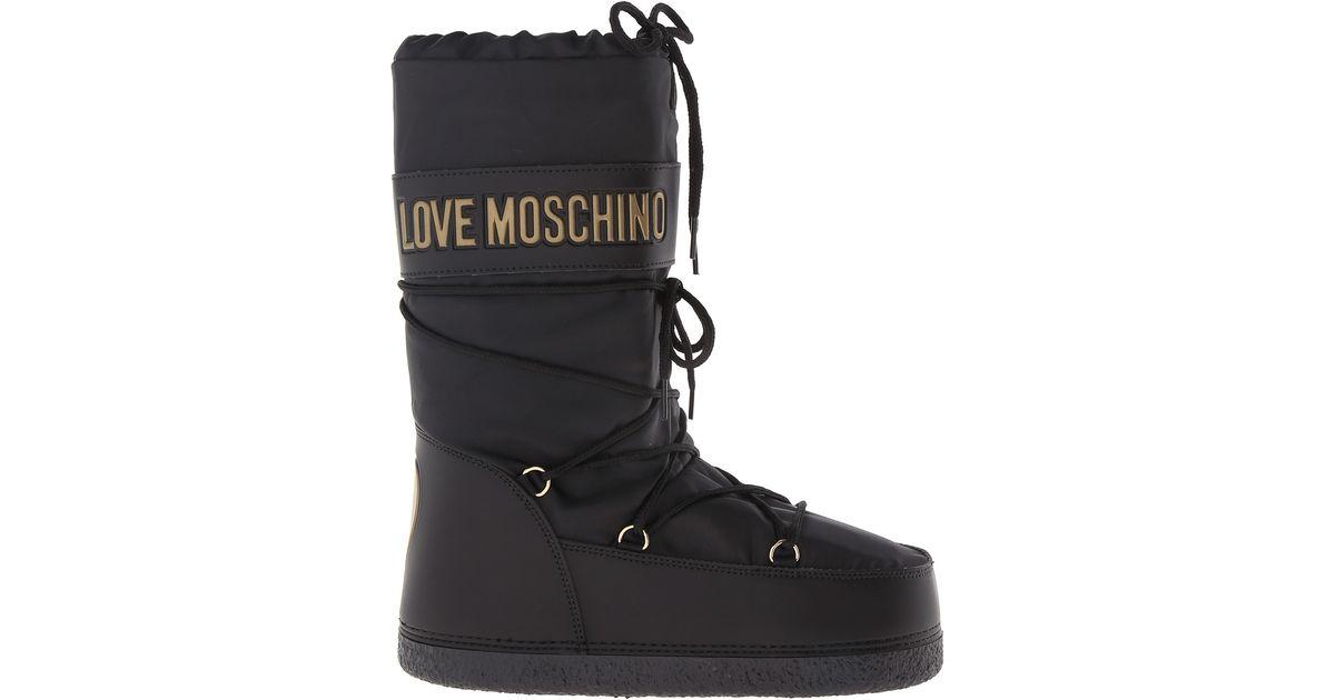 Love Moschino Black Classic Moon City Snow Boots