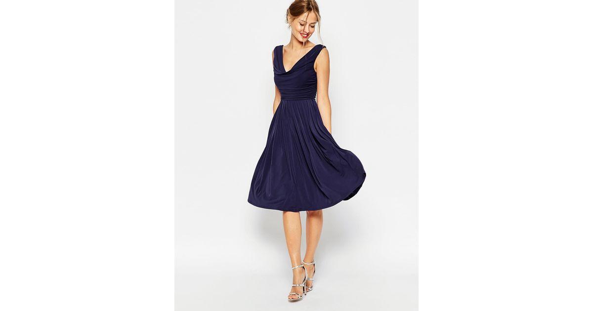 0a700e03f419 ASOS Wedding Cowl Neck Midi Dress in Blue - Lyst