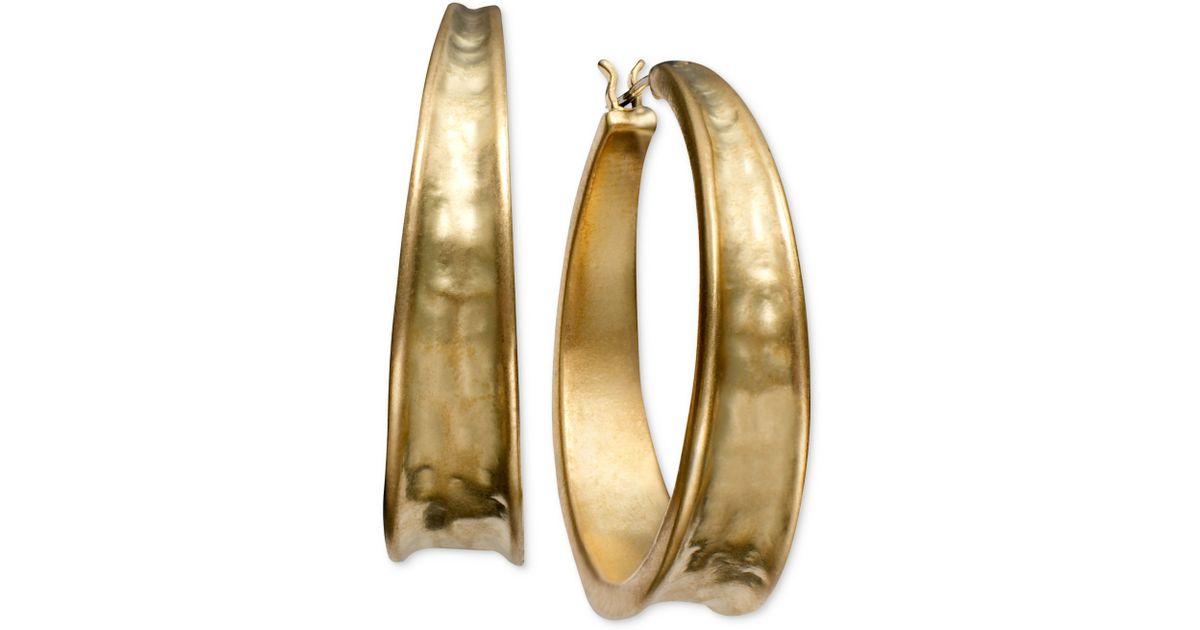 Lyst Lauren By Ralph Goldtone Hammered Hoop Earrings In Metallic
