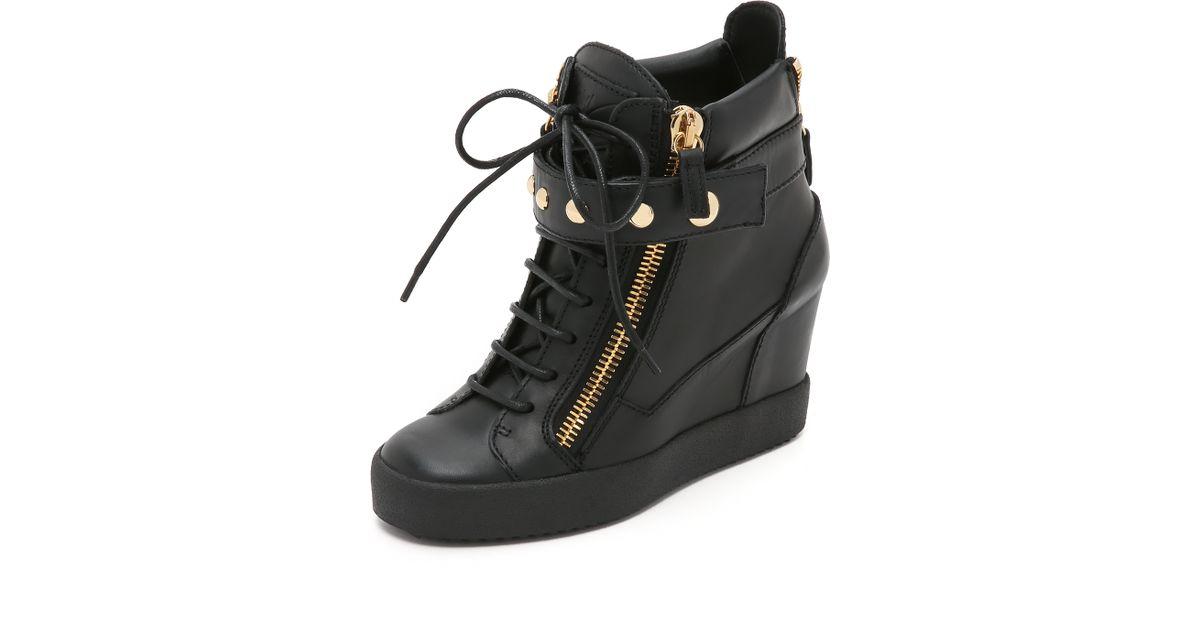 Giuseppe zanotti Lorenz Wedge Sneakers in Black | Lyst