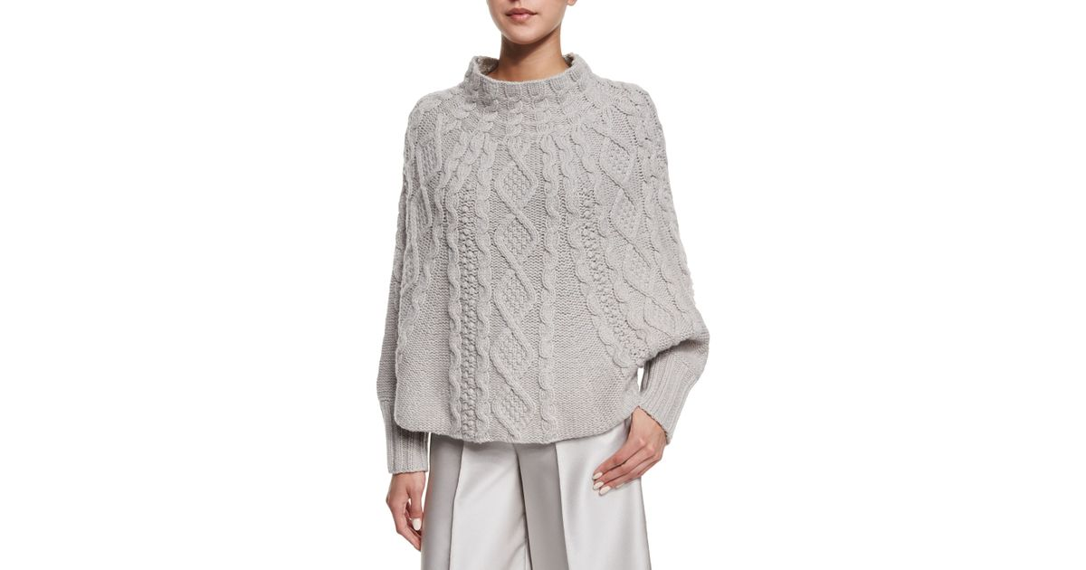 Knitting Pattern Poncho With Sleeves : Co. Cable-knit Long-sleeve Poncho in Gray Lyst