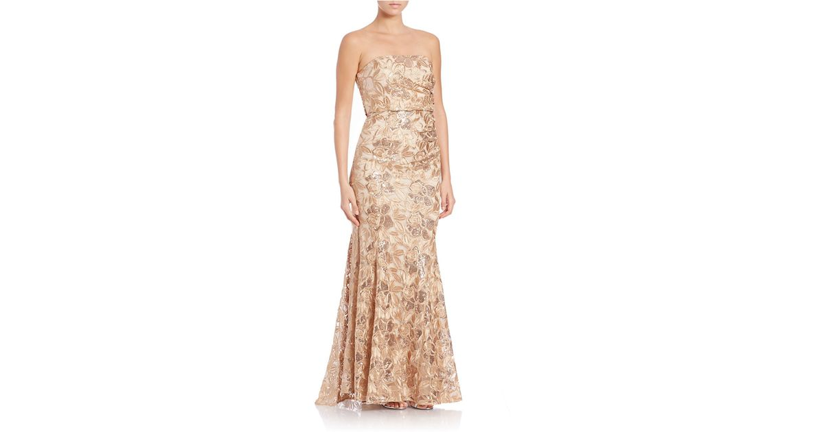 Lyst - Belle By Badgley Mischka Sequined And Floral Lace Gown