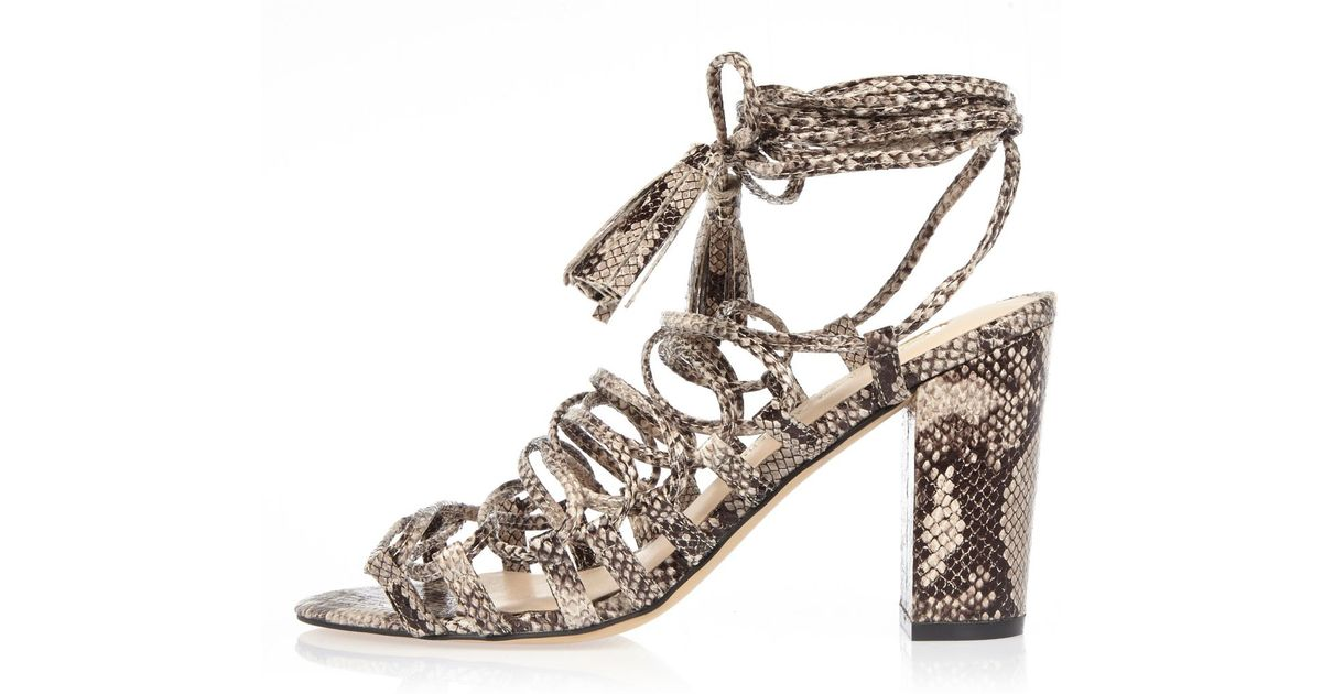 3c498d63a22 Lyst - River Island Grey Snake Print Lace-up Block Heel Sandals in Gray